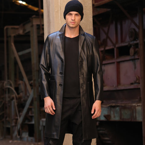 New Men's Sheepskin Coat Long Autumn Genuine Leather Jacket Black Suit Collar Slim Formal Outwear