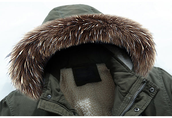 Winter Men Casual Long Fur Collar Hooded Fleece Jacket Parkas Men Brand Outfit Warm Thick Pocket Parkas Men
