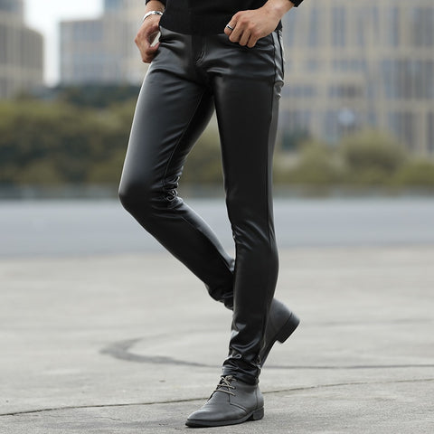 autumn of cultivate one's morality play high fashionable young tight leather pants and feet locomotive PU leather pants