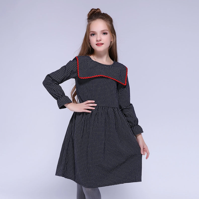 Kids Children Girls Dresses Cotton Full Plaid Petal Sleeve Sailor Collar Fashion Girl Dress European And American Style