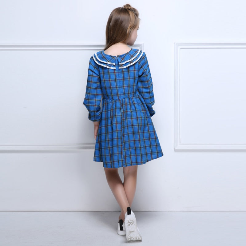 Kids Fashion Girls Dress Long Sleeve Double Layered Collar Cotton Lace Plaid Party Dresses Spring Autumn Clothes