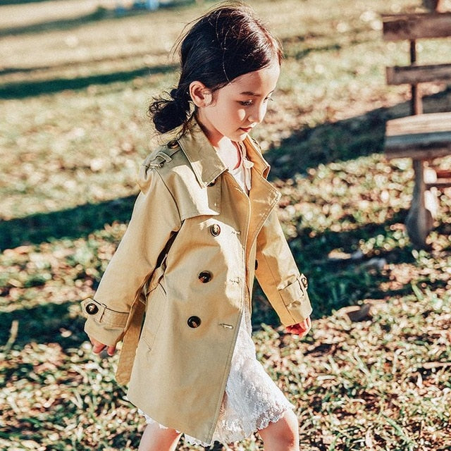 Girls Double Breasted Jacket Wind Coat Child Windbreaker Outwear Winter Long Sleeve Coats Clothes 2-12y Autumn Clothes