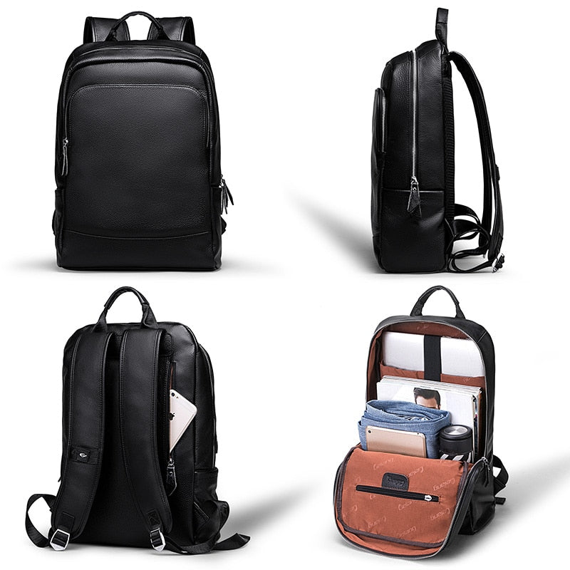 Men's Backpack Simple High Quality Leather Backpack Male Leather Fashion Trend Youth Leisure Travel Computer Bag