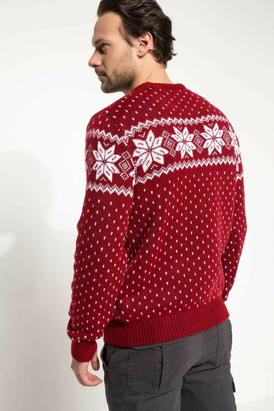 Man White Snowflake Prints Winter Pullover Men Christmas Red Sweaters Male Thick Warm Pullovers