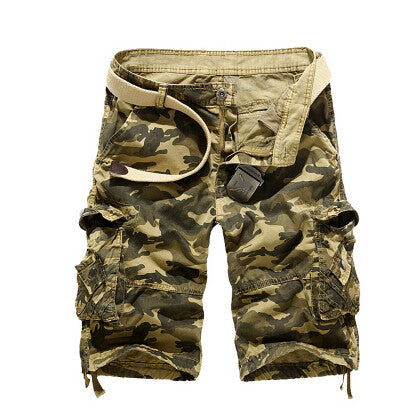 Casual Men Cargo Shorts Summer Style Overalls Camouflage Loose  Multi-Pocket Shorts For Man Free shipping