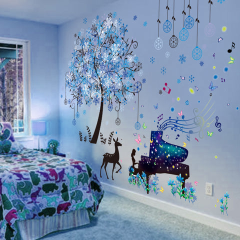 Deer Tree Wall Stickers DIY Girl Piano Wall Decals for Kids Rooms Baby Bedroom Nursery Decoration