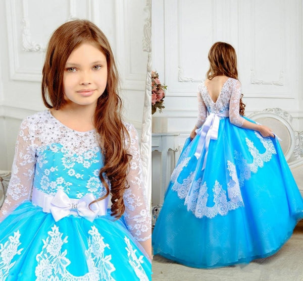 New Puffy Kids Prom Dress with White Lace Appliques Crystals 3/4 Long Sleeves Backless Customized Flower Girl Dress For Wedding
