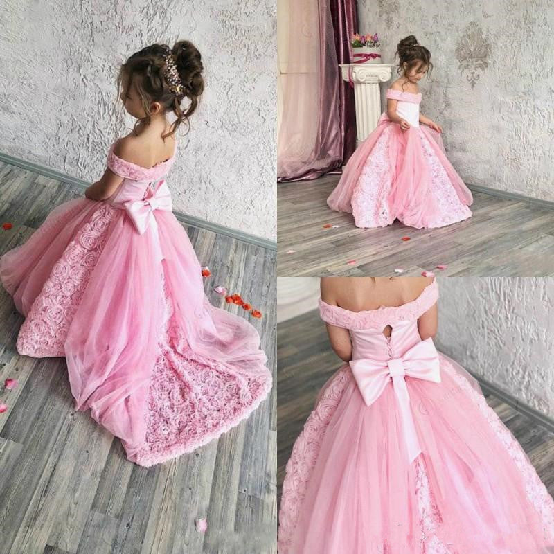 Pink Tulle Flower Girl Dress For Wedding Puffy Kids Pageant Gowns Off The Shoulder Backless Custom Made Vestidos Long Train Bow