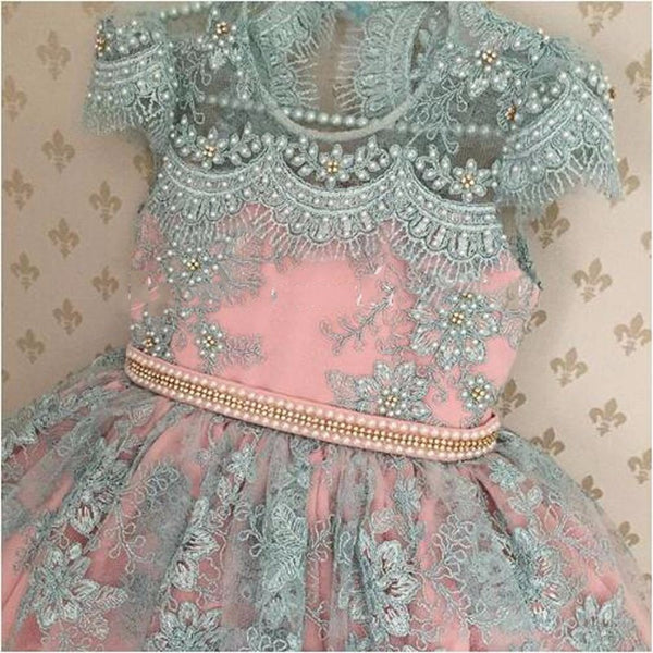 Cute Pink Blue Lace Flower Girl Dress Shiny Pearls Appliques Baby Girls First Birthday Gowns Communion Dresses Christmas Gown