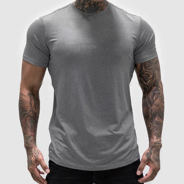 Plain Gym Clothing Fashion T Shirt Men Cotton Breathable Mens Short Sleeve Fitness T-shirt Summer Tshirt Casual Tee Shirt homme