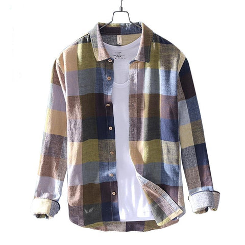 New mens shirt big plaid linen cotton shirts men long sleeve breathable comfortable tops