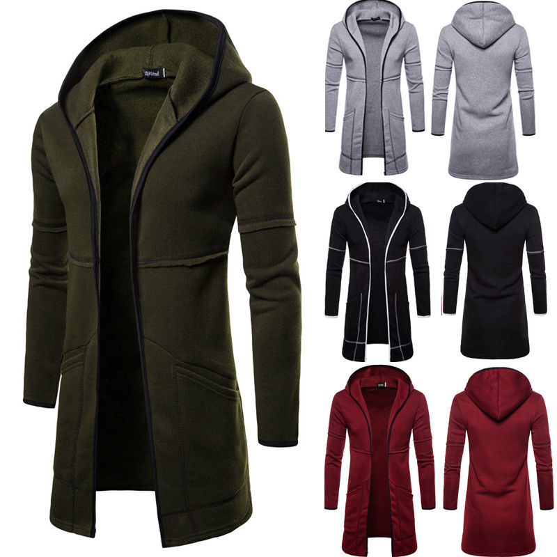New Style Men Cardigan Warm Trench Autumn Winter Coat  New Long Overcoat Casual Solid Outwear Cardigan