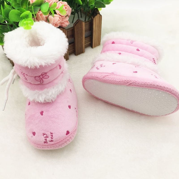 Baby 0-18 Months Girls Winter Snow Super Warm Boots Infant Solid Lace Up Lovely Comfortable Shoes New