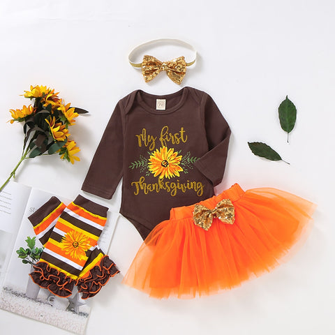 Newborn Baby Girl 0-12M Romper Tulle Tutu Dress Skirt Leg Warmers Thanksgiving Outfits