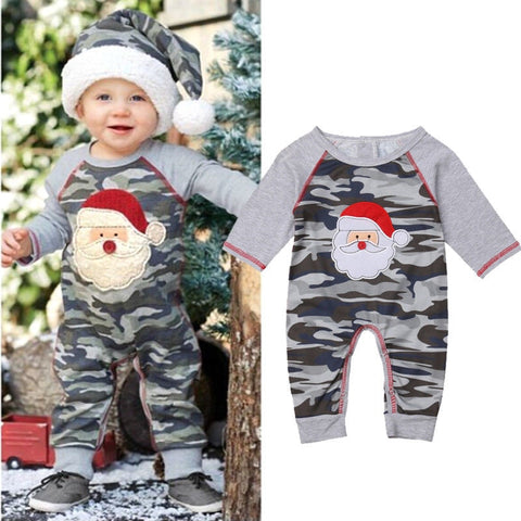 Casual Christmas Newborn Clothes Baby Boys Girls Santa Claus Romper Unisex Camo Long Sleeve Patchwork Cotton Jumpsuit 0-18M