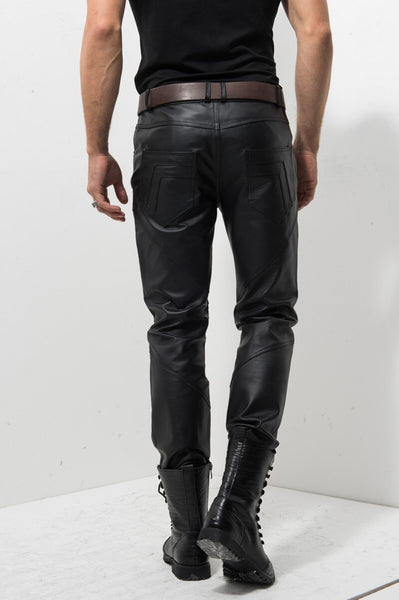 Zipper Mens Slim Gentleman Windproof Middle Aged Pants Genuine Leather Pig Slim Motorcycle Biker Pants Male Trousers