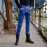 Mens Slim Fit Pants Autumn Winter Thick Fleece Lining Long Trousers Stretchy Motorcycle Biker Leather Pants