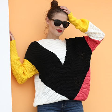 Women Sweater Color Block Splicing V Pattern Dropped Shoulder Long Sleeve Loose Casual Streetwear