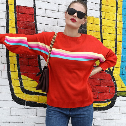 Women Sweater Colorful Rainbow Stripes Print Ribbed Dropped Shoulders Long Sleeve Loose Casual Pullover