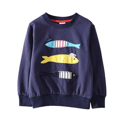 Baby Clothes Autumn New Baby Boy Girl Long Sleeve Embroidery Three Small Fish Round Neck Sweater Fashion Baby Clothes