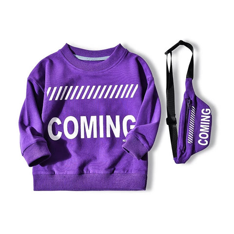 Promotion Children's sweatshirts New fashion design print letters with a bag boys girls t-shirts Cotton 100% Kids sweatshirts