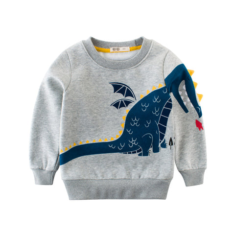 Baby Boys Winter Sweatshirt Dinosaur Print Warm Clothes Long Sleeve T-shirts Boy Thick Hoodies Children 2 3 4 5 6 7 8 Years Old