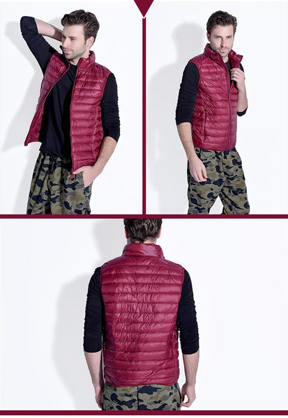 90% White Duck Down Men Vest Gilet Casual Waistcoat Spring Autumn Light Down Jacket Male