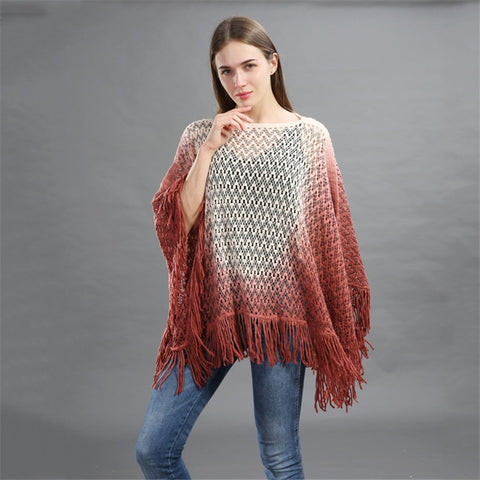 New Gradient Color Loose Shawl Poncho Women Fashion Ladies Autumn/Winter Large Pashmina Cloak Stole with Tassels