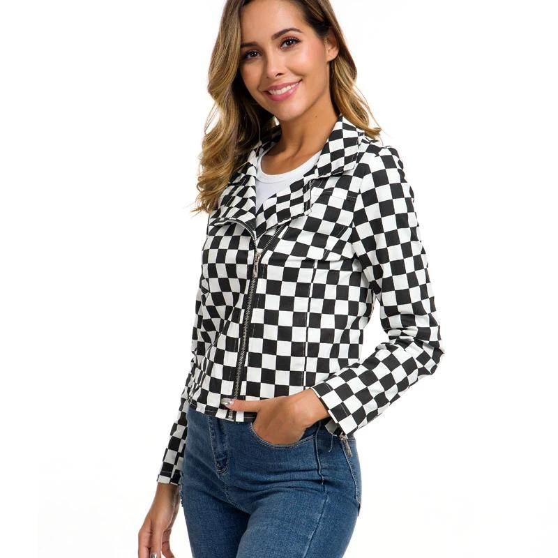 Women Checkerboard Jacket New Autumn Cotton Plaid Jackets Streetwear Coats Ladies Clothes Female Checkered Top