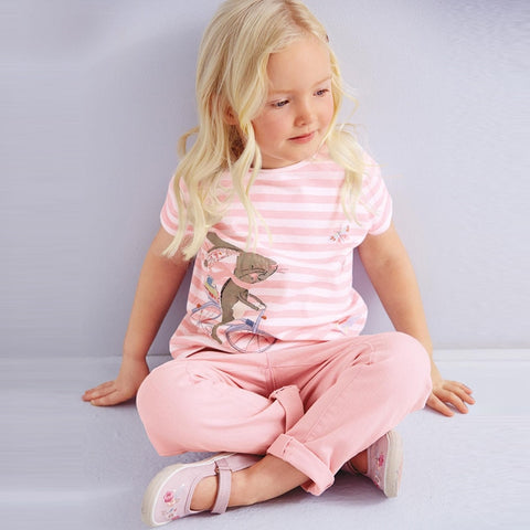 Baby Girls Cotton T-shirt Summer Clothing - Children Embroidery  Rabbit Stripe Shirt Pink Short Sleeve Brand Tops Kids Clothes
