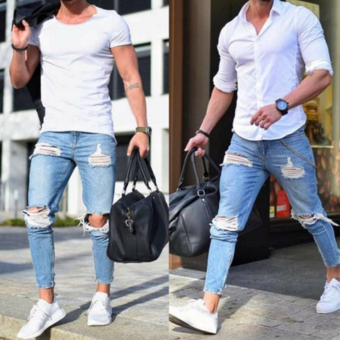 Boutique Casual Skinny Jeans Men Straight Denim Jeans/Male Pants Skinny men's jeans are light colored and ripped