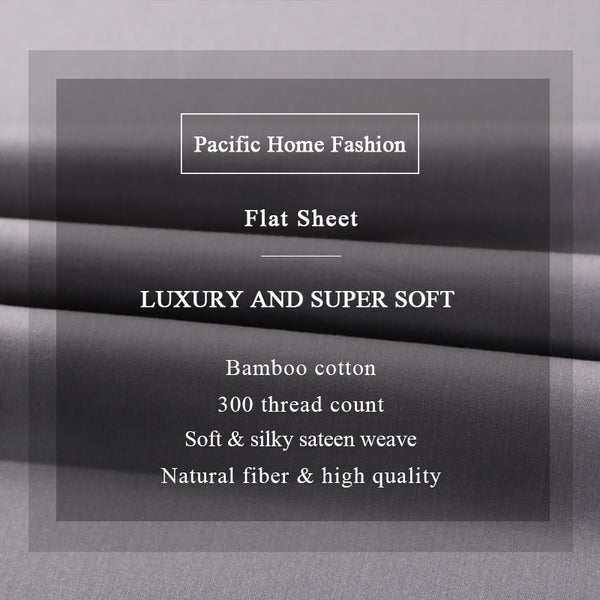 300 Thread Count Bamboo Cotton Bed Flat Sheet Deep Pocket 1Pcs Bedclothes Queen King Size