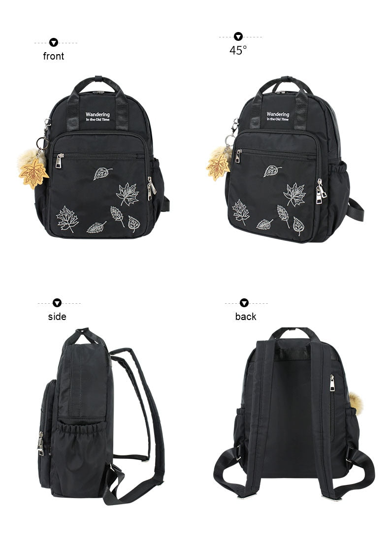 Embroidery Women Backpack Hairball Ornaments Female Bag Waterproof  Nylon School Backpack For Girls Backpack