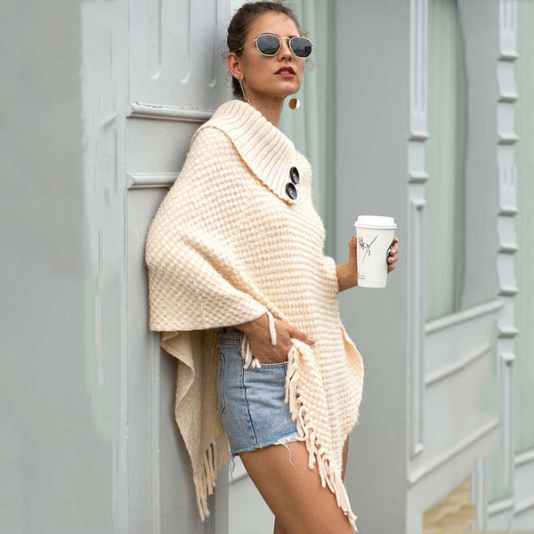 Autumn Knitted Sweater Poncho Women Tassel Poncho Capes Women Winter Long Sweater Ladies Batwing Button Scarf Pullover