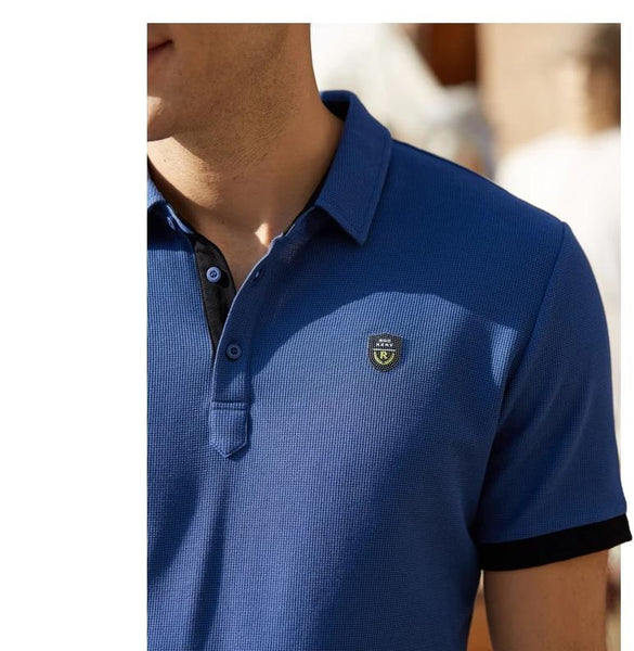 Business Man Smart Casual Solid Color Short Sleeve Polo Shirt Men's Summer Cotton Slim Lapel Collar T-shirt