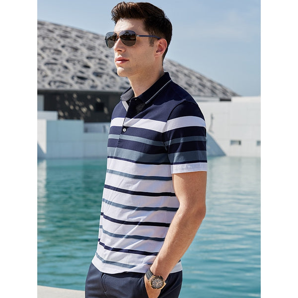 Gentleman Summer Casual Cotton Polo Shirt Business Man Leisure Vacation Short Sleeve Tops Tee Male Strip T-shirt