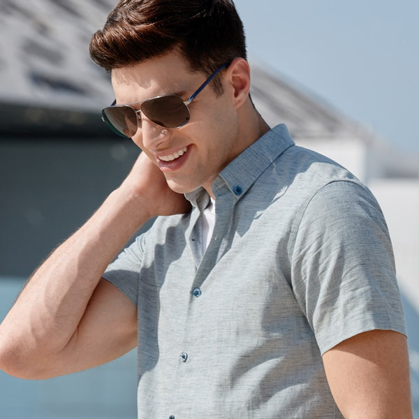 Men's Summer Cotton Linen Fit Slim Solid Color Casual Shirt Business Man Daily Casual Short-sleeved Lapel Tops
