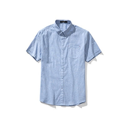 Men's Summer Short Sleeve Solid Color Fit Slim Formal Dress Shirt Out Wear Shirt Jacket Casual Cotton Linen Tops