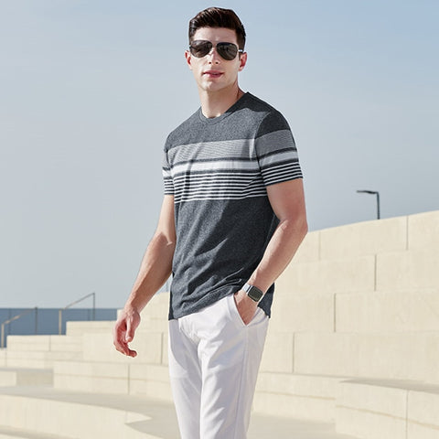Business Man Leisure Golf Undershirt Male Cotton Slim Strip Tops Tee Summer Short Sleeve O-neck T-shirt for Man