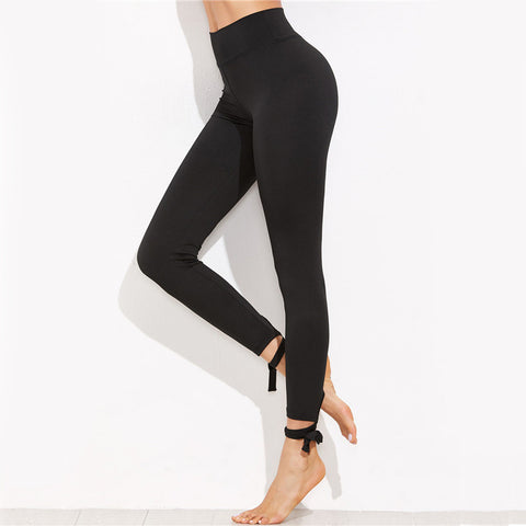 Women Leggings Fitness Women Clothing Fashion Leggings For Women Fitness Black Lace Up Hem Leggings