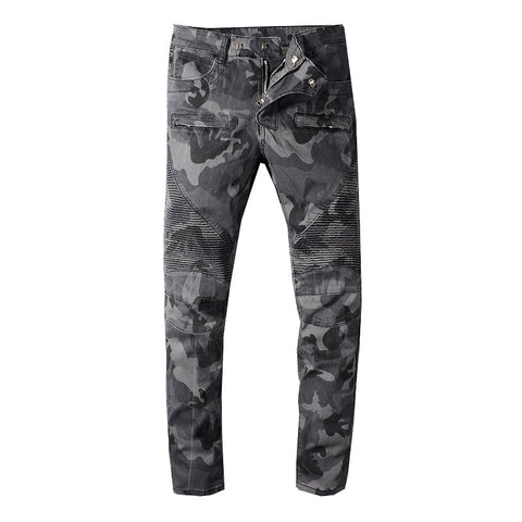 Men's camouflage printed biker jeans for motorcycle Military pleated slim stretch denim pants