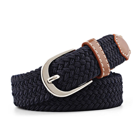 Simple and Stylish Thin Waist Belt Women Casual  Elastic Waistband Canvas Buckle Braided Woven Waist Straps