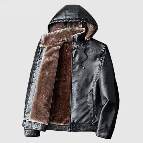 Winter Mens Leather Jackets Warm Coats Plus Thick Outerwear Biker Motorcycle Male Classic Hooded Faux Jacket Windproof