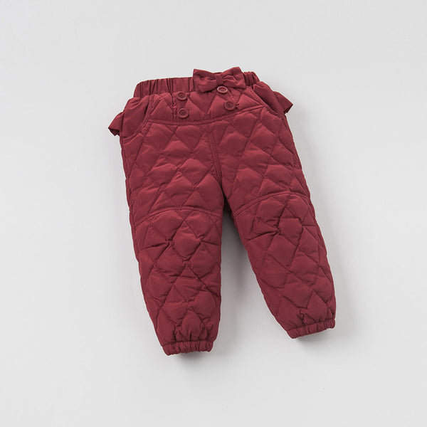 Winter infant baby girls Bow pants kids white duck down pants children toddler feathers trousers
