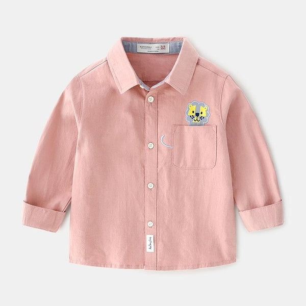 Autumn New Boys Long Sleeve Shirt Baby Cartoon Lion Shirt Cotton Baby Blouse Boys Button Shirt Kids Top