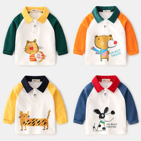 Autumn&Winter New Kids Polo Shirt Long Sleeve Boys Polo Shirts Cartoon Animals Cotton Kids Tops Baby Shirt For Kids 2-7year