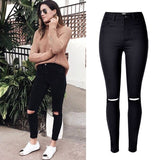 Fashion Ladies Army Green/White/Black Ripped Jeans Women High Waist Jeans Femme Stretch Noir slim Jean taille haute Denim Pants