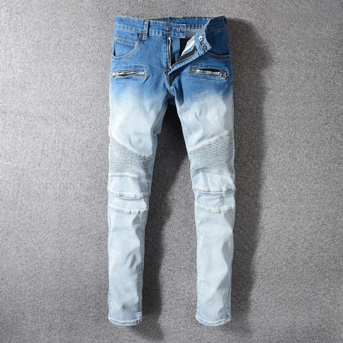 Streetwear Men Jeans White Blue Wash Spliced Designer Hip Hop Jeans Men Cargo Pants Multi Pockets Biker Jeans Homme