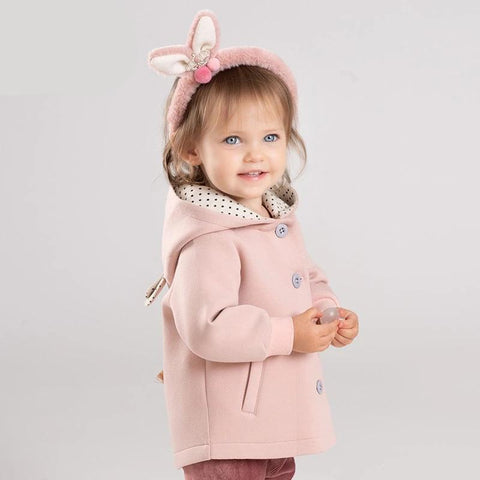 Autumn winter baby girls cute cat cartoon hooded pockets coat children tops infant toddler outerwear