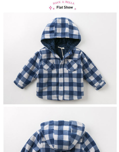Winter baby boys casual plaid hooded pockets pockets coat children tops fashion infant toddler outerwear